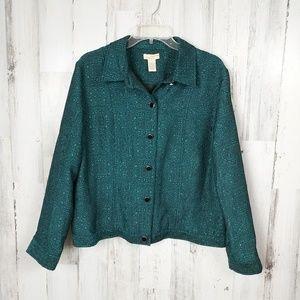 🌿 Teal Button Front Jacquard Light Jacket Large